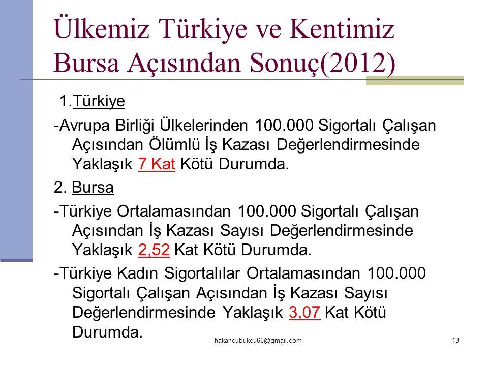 Ülkemiz Türkiye ve Kentimiz Bursa Açısından Sonuç(2012)