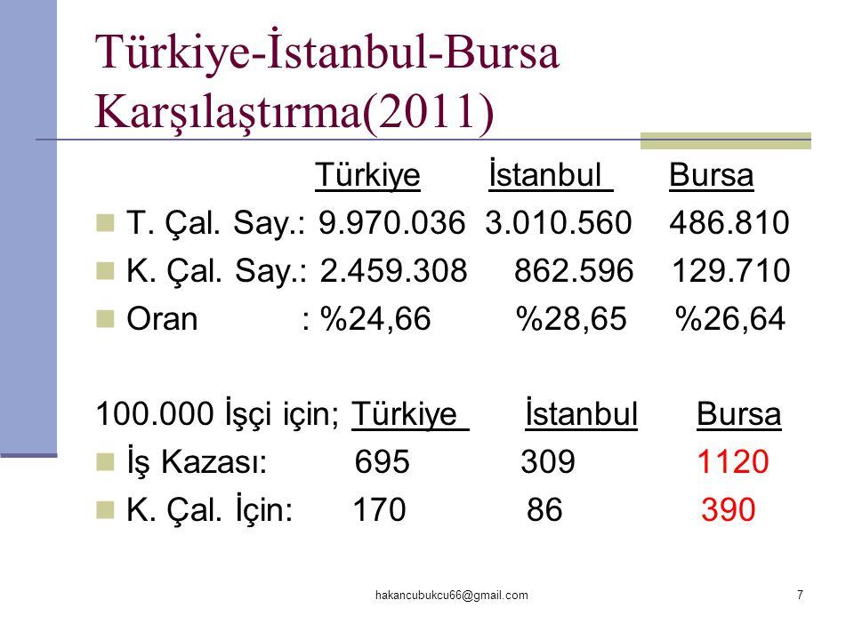 Türkiye-İstanbul-Bursa Karşılaştırma(2011)
