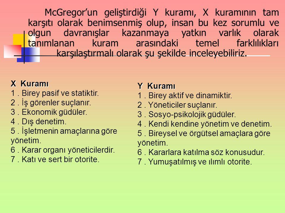 McGregor'un geliştirdiği Y kuramı, X kuramının tam karşıtı olarak benimsenmiş olup, insan bu kez sorumlu ve olgun davranışlar kazanmaya yatkın varlık olarak tanımlanan kuram arasındaki temel farklılıkları karşılaştırmalı olarak şu şekilde inceleyebiliriz.