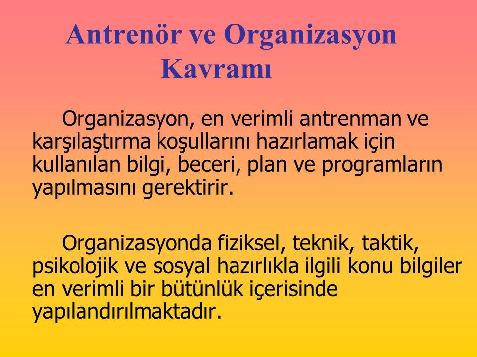Antrenör ve Organizasyon Kavramı