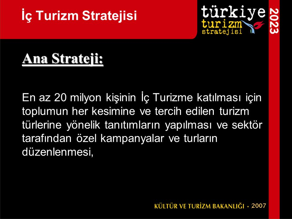 Ana Strateji: İç Turizm Stratejisi