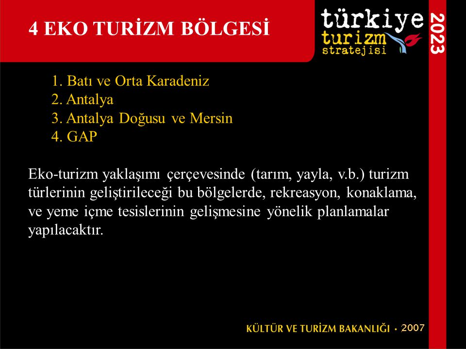 4 EKO TURİZM BÖLGESİ 1. Batı ve Orta Karadeniz 2. Antalya