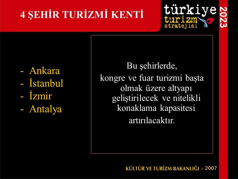 Ankara İstanbul İzmir Antalya 4 ŞEHİR TURİZMİ KENTİ Bu şehirlerde,