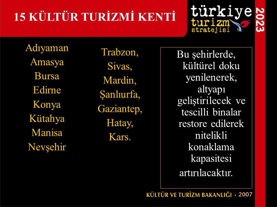 15 KÜLTÜR TURİZMİ KENTİ Adıyaman Trabzon, Amasya