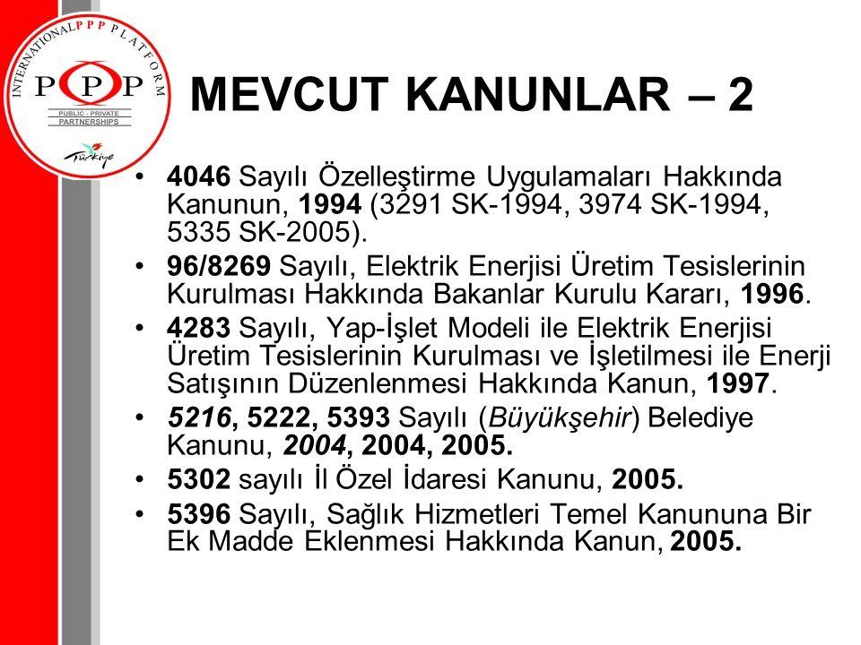 MEVCUT KANUNLAR – 2 4046 Sayılı Özelleştirme Uygulamaları Hakkında Kanunun, 1994 (3291 SK-1994, 3974 SK-1994, 5335 SK-2005).
