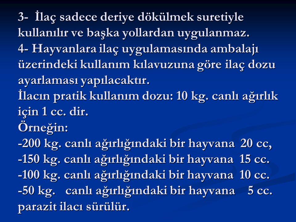 3- İlaç sadece deriye dökülmek suretiyle kullanılır ve başka yollardan uygulanmaz.