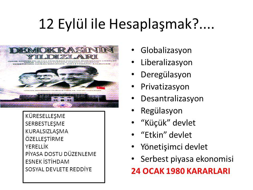 12 Eylül ile Hesaplaşmak .... Globalizasyon Liberalizasyon