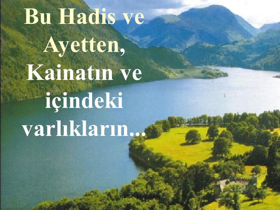 Bu Hadis ve Ayetten, Kainatın ve içindeki varlıkların...