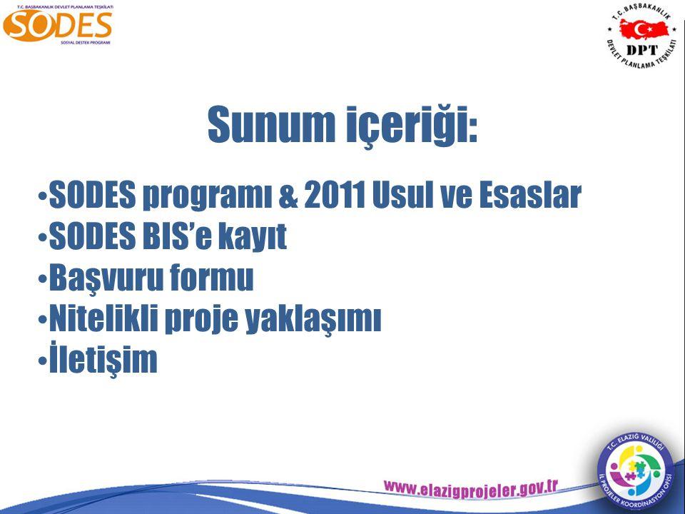 Sunum içeriği: SODES programı & 2011 Usul ve Esaslar SODES BIS'e kayıt