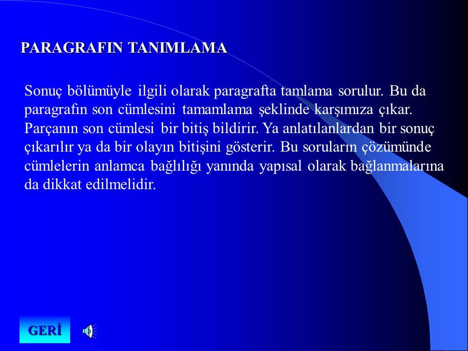 PARAGRAFIN TANIMLAMA