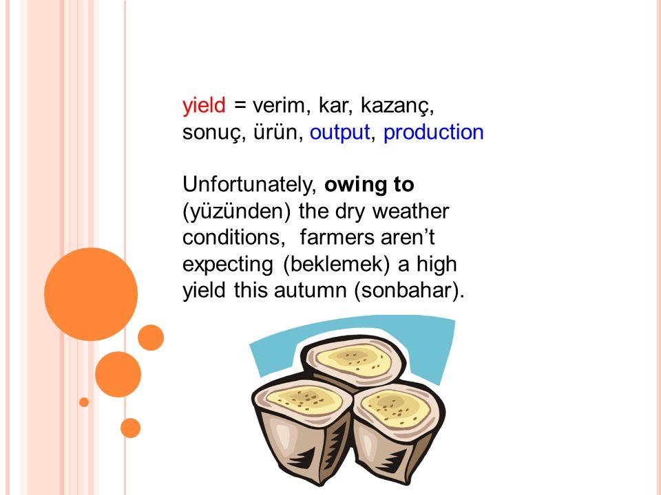 yield = verim, kar, kazanç, sonuç, ürün, output, production