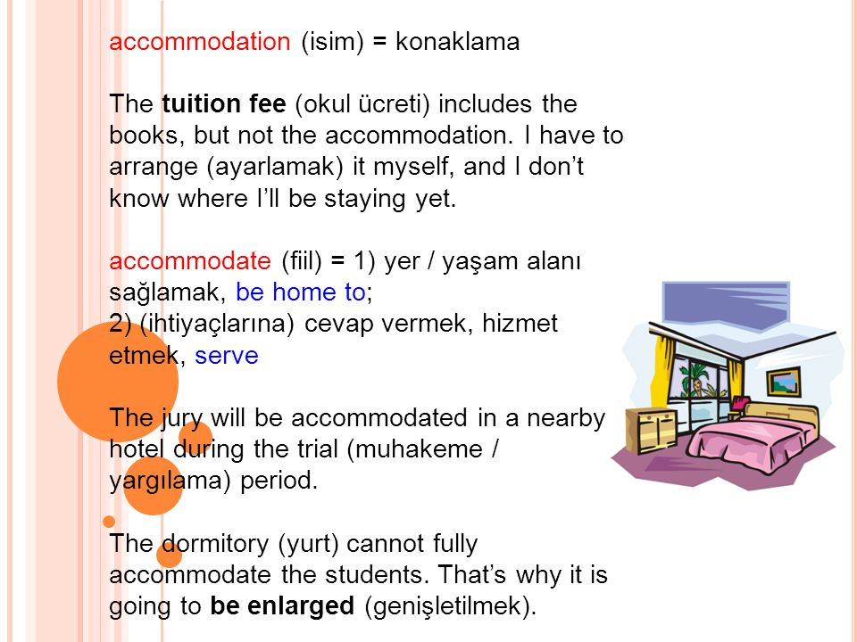 accommodation (isim) = konaklama