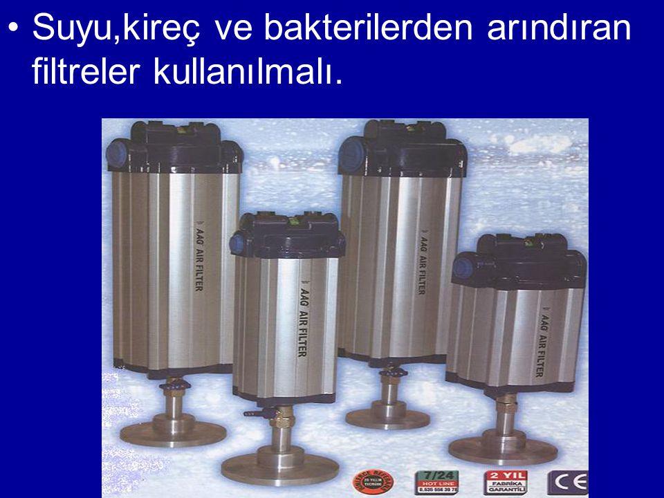 Suyu,kireç ve bakterilerden arındıran filtreler kullanılmalı.