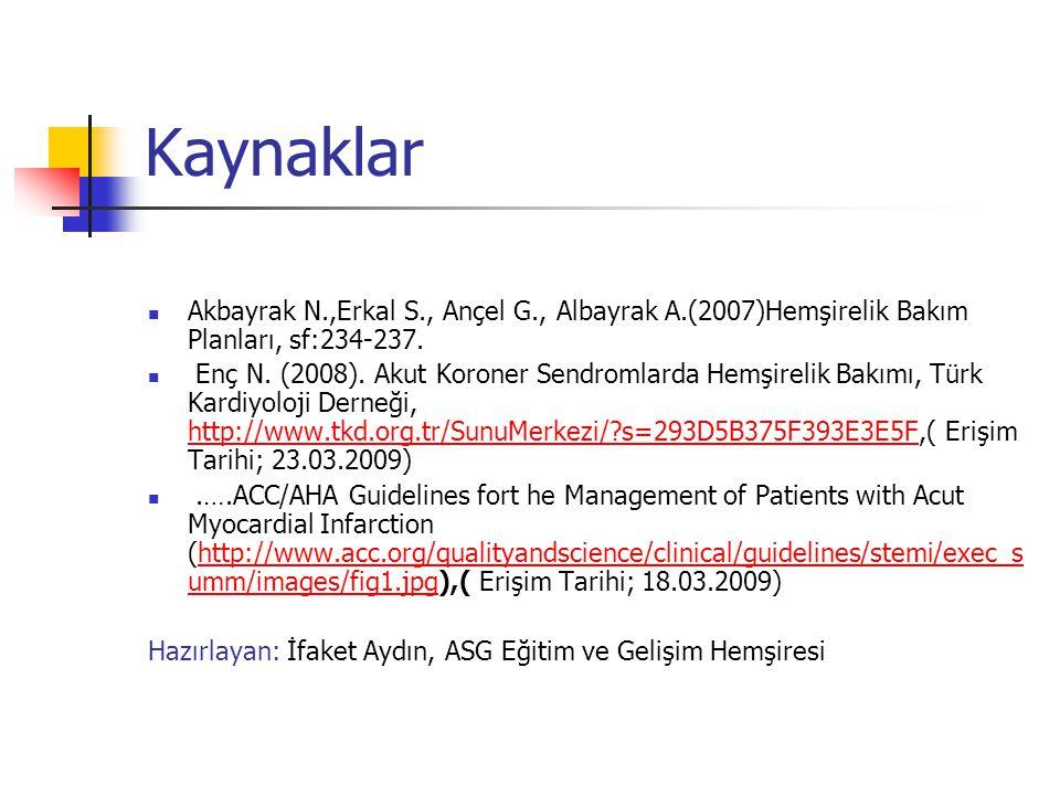Kaynaklar Akbayrak N.,Erkal S., Ançel G., Albayrak A.(2007)Hemşirelik Bakım Planları, sf:234-237.