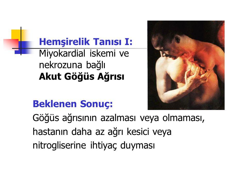 Hemşirelik Tanısı I: Miyokardial iskemi ve nekrozuna bağlı Akut Göğüs Ağrısı