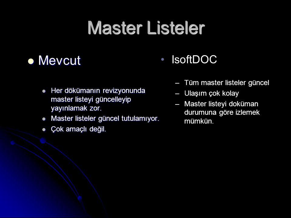 Master Listeler Mevcut IsoftDOC Tüm master listeler güncel