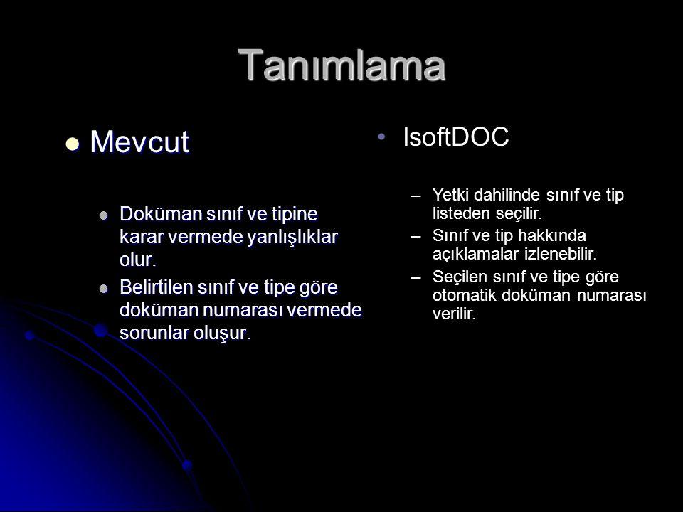 Tanımlama Mevcut IsoftDOC
