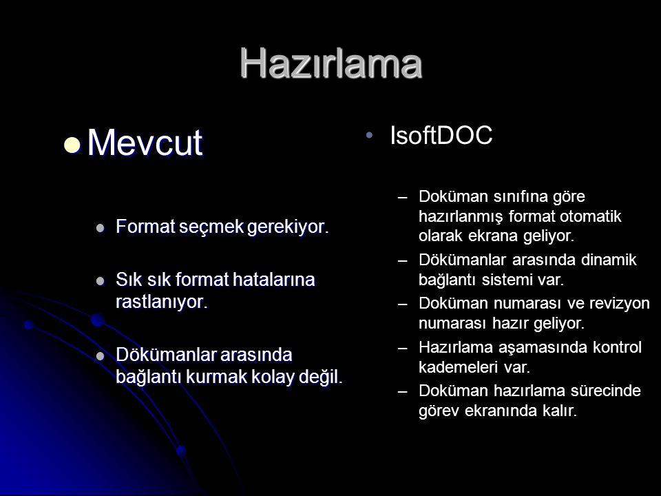 Hazırlama Mevcut IsoftDOC Format seçmek gerekiyor.