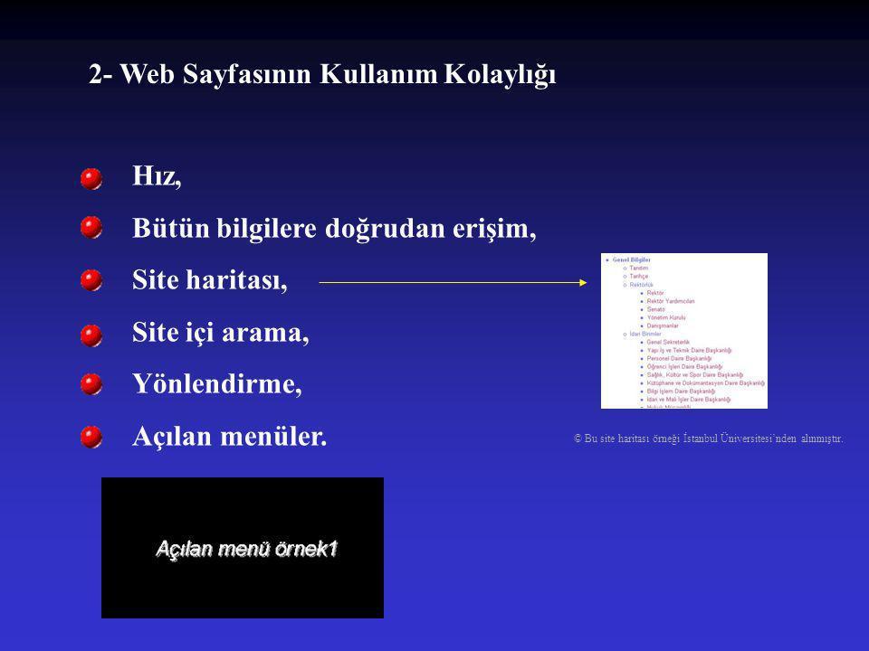 2- Web Sayfasının Kullanım Kolaylığı
