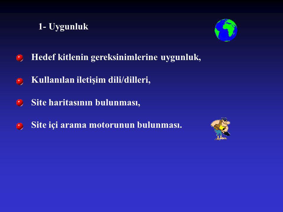 1- Uygunluk Hedef kitlenin gereksinimlerine uygunluk, Kullanılan iletişim dili/dilleri, Site haritasının bulunması,