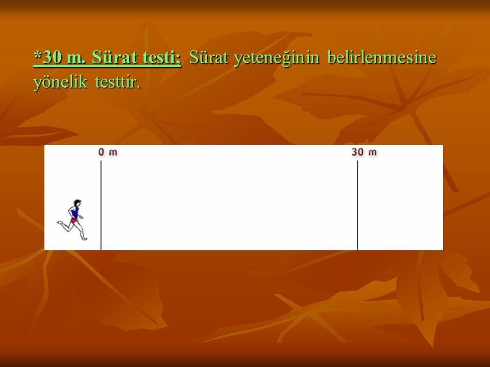 *30 m. Sürat testi; Sürat yeteneğinin belirlenmesine yönelik testtir.