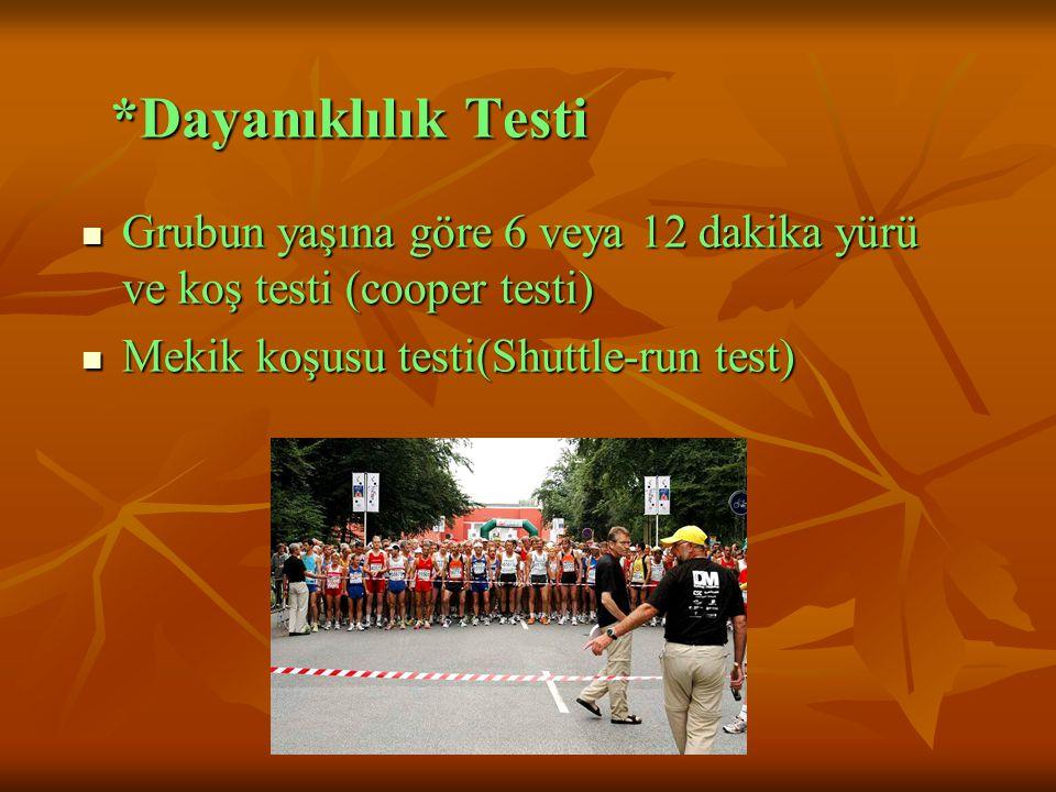 *Dayanıklılık Testi Grubun yaşına göre 6 veya 12 dakika yürü ve koş testi (cooper testi) Mekik koşusu testi(Shuttle-run test)