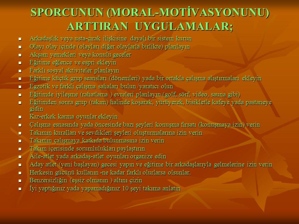 SPORCUNUN (MORAL-MOTİVASYONUNU) ARTTIRAN UYGULAMALAR;