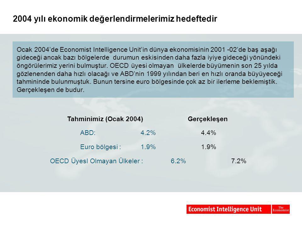 2004 yılı ekonomik değerlendirmelerimiz hedeftedir