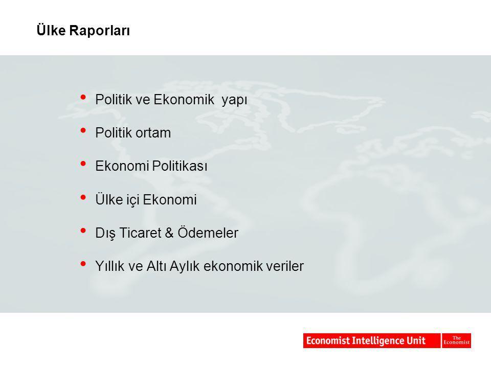 Ülke Raporları Politik ve Ekonomik yapı. Politik ortam. Ekonomi Politikası. Ülke içi Ekonomi. Dış Ticaret & Ödemeler.