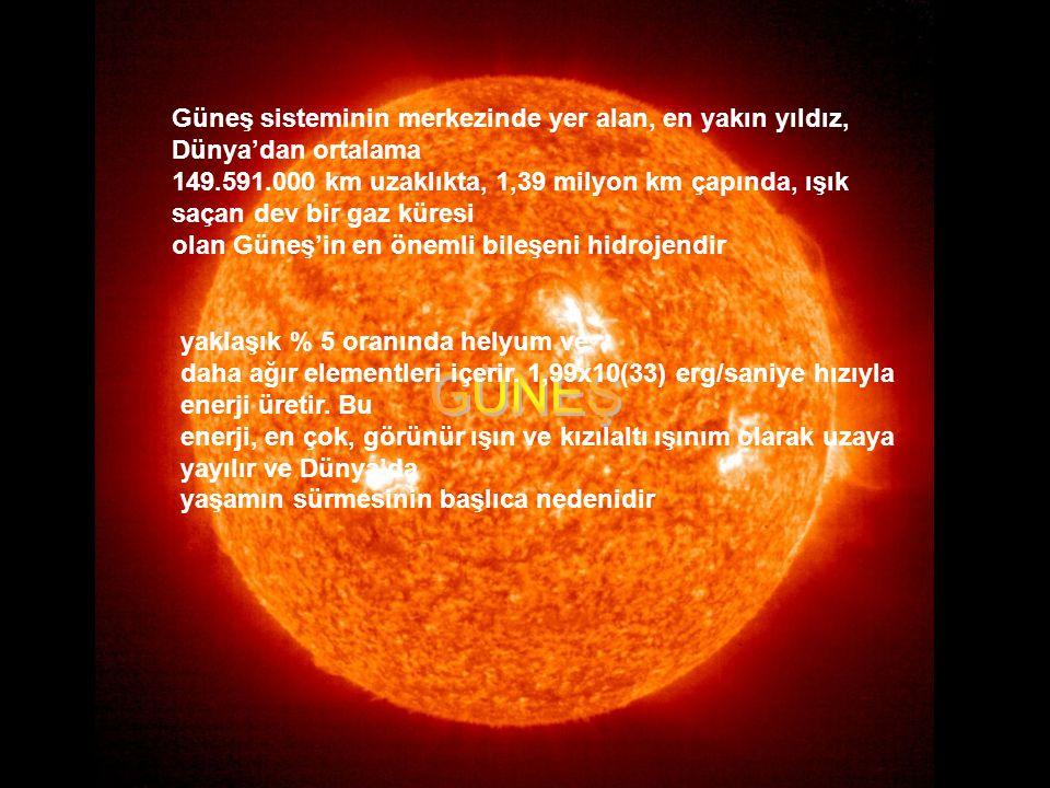 Güneş sisteminin merkezinde yer alan, en yakın yıldız, Dünya'dan ortalama 149.591.000 km uzaklıkta, 1,39 milyon km çapında, ışık saçan dev bir gaz küresi olan Güneş'in en önemli bileşeni hidrojendir