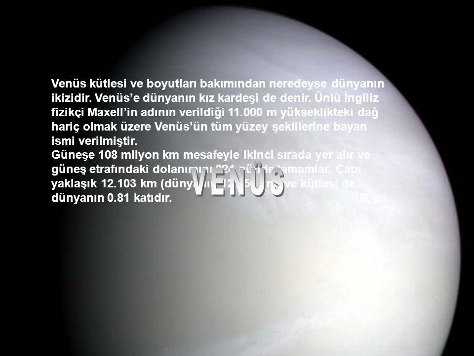 Venüs kütlesi ve boyutları bakımından neredeyse dünyanın ikizidir