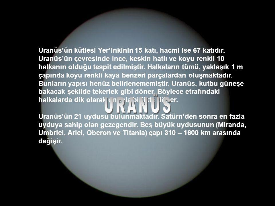 Uranüs'ün kütlesi Yer'inkinin 15 katı, hacmi ise 67 katıdır