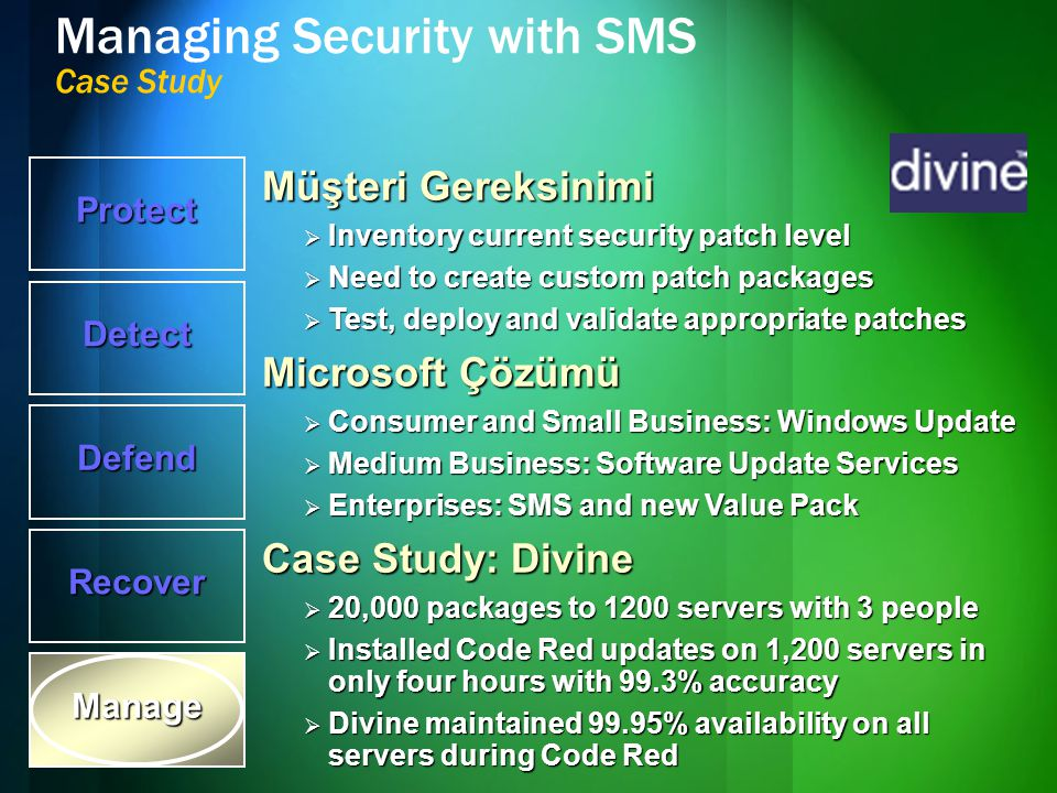 Managing Security with SMS Case Study