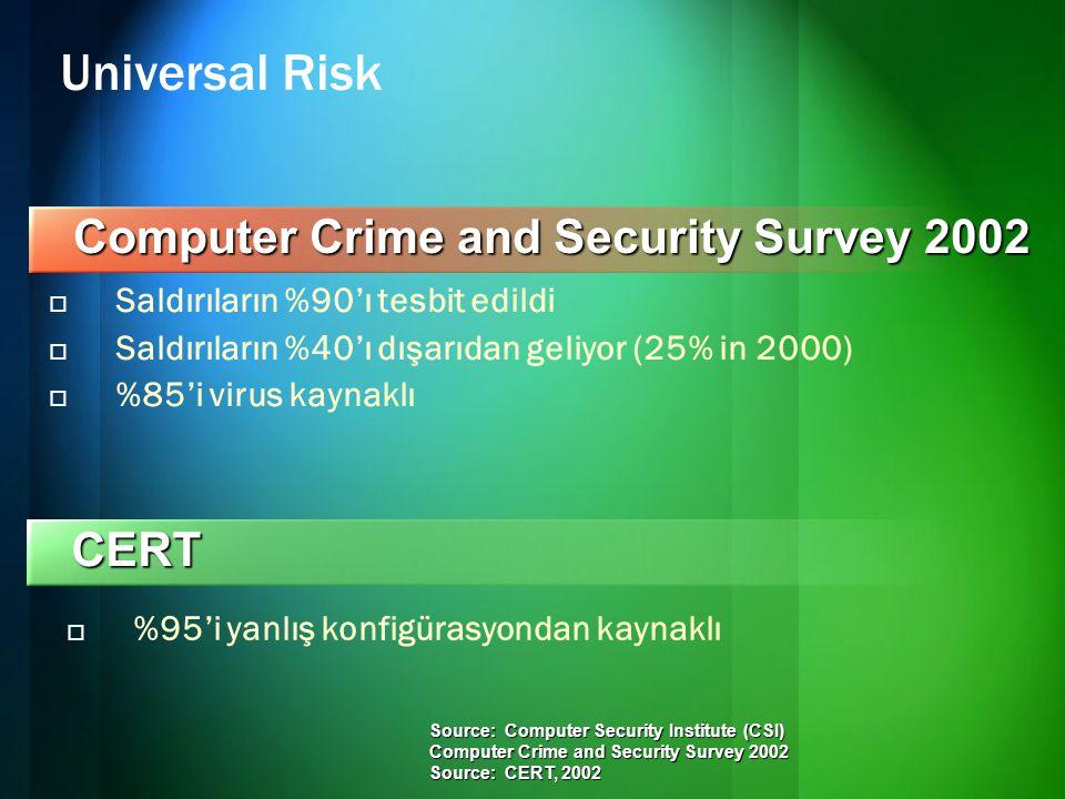 Universal Risk Computer Crime and Security Survey 2002 CERT