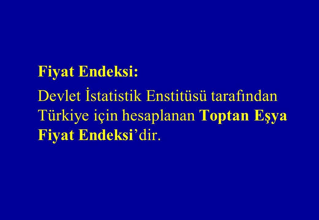 Fiyat Endeksi: Devlet İstatistik Enstitüsü tarafından Türkiye için hesaplanan Toptan Eşya Fiyat Endeksi'dir.