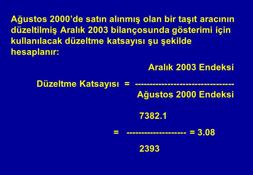 Ağustos 2000'de satın alınmış olan bir taşıt aracının düzeltilmiş Aralık 2003 bilançosunda gösterimi için kullanılacak düzeltme katsayısı şu şekilde hesaplanır: