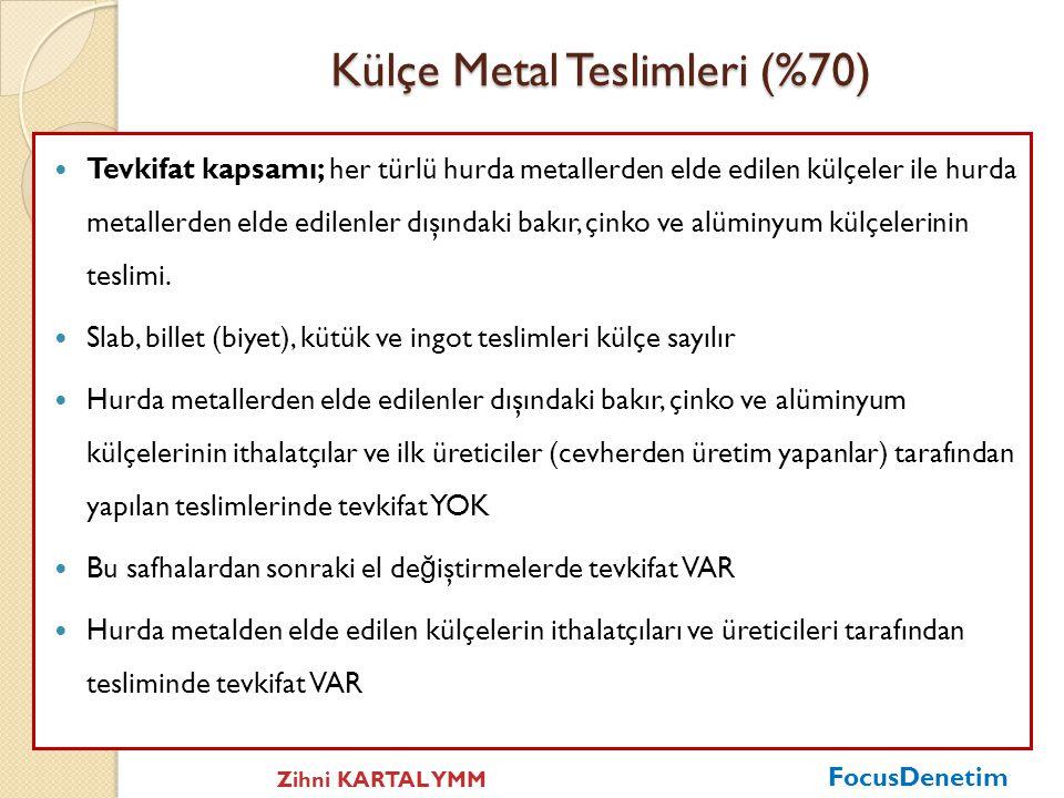 Külçe Metal Teslimleri (%70)