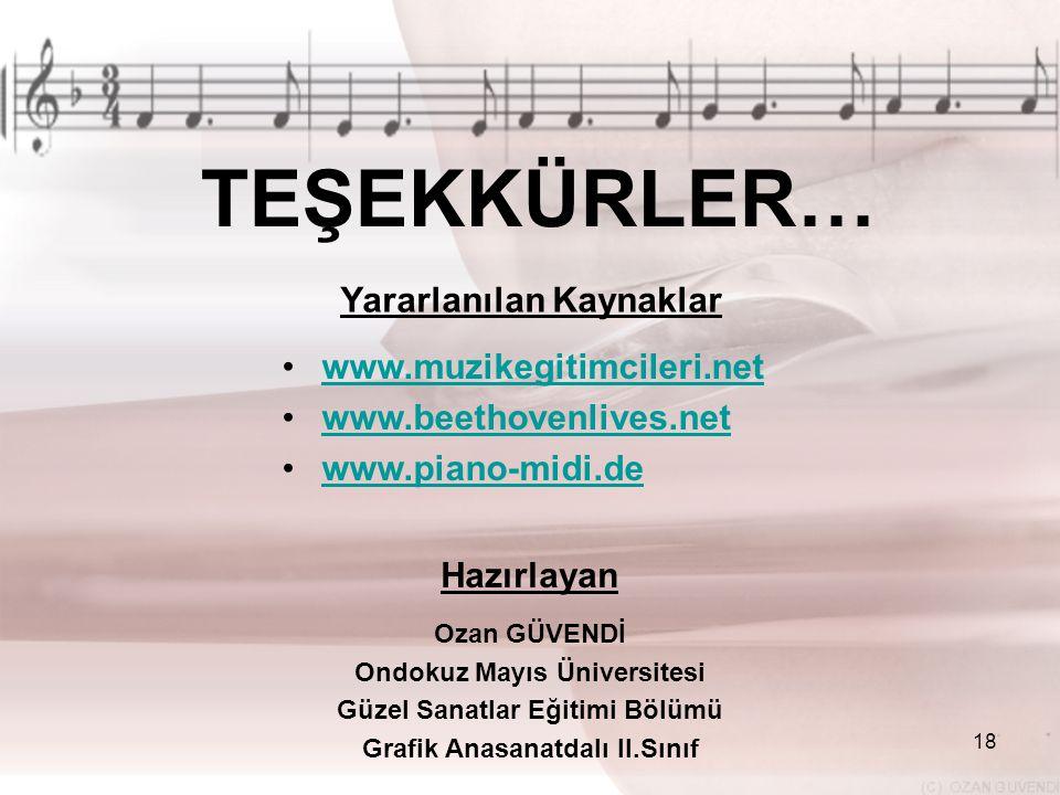 TEŞEKKÜRLER… Yararlanılan Kaynaklar www.muzikegitimcileri.net
