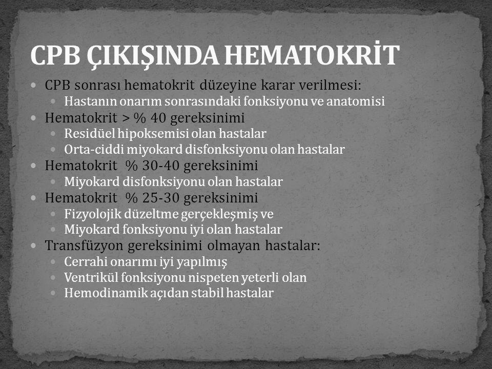 CPB ÇIKIŞINDA HEMATOKRİT