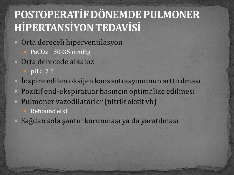 POSTOPERATİF DÖNEMDE PULMONER HİPERTANSİYON TEDAVİSİ