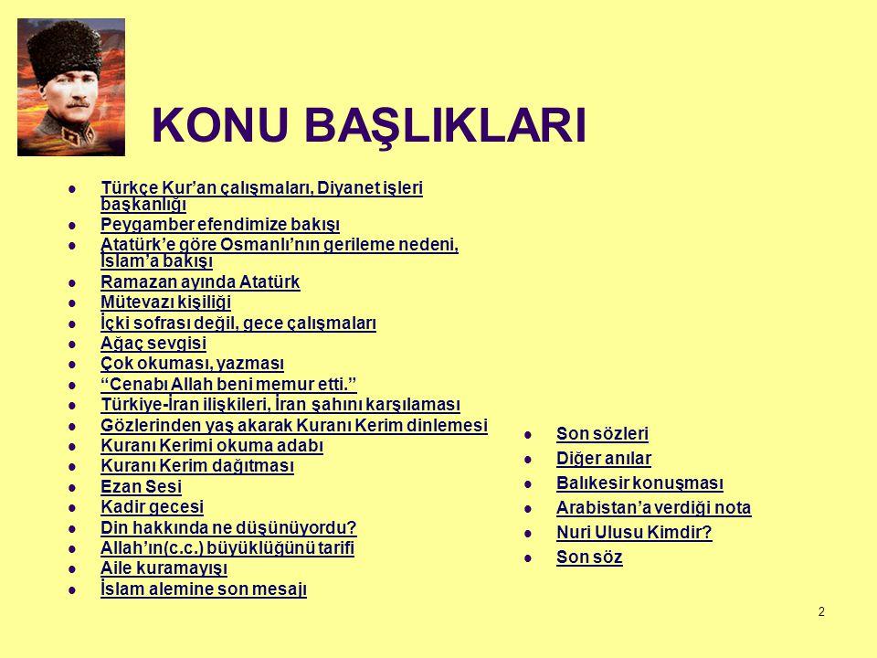 KONU BAŞLIKLARI Türkçe Kur'an çalışmaları, Diyanet işleri başkanlığı