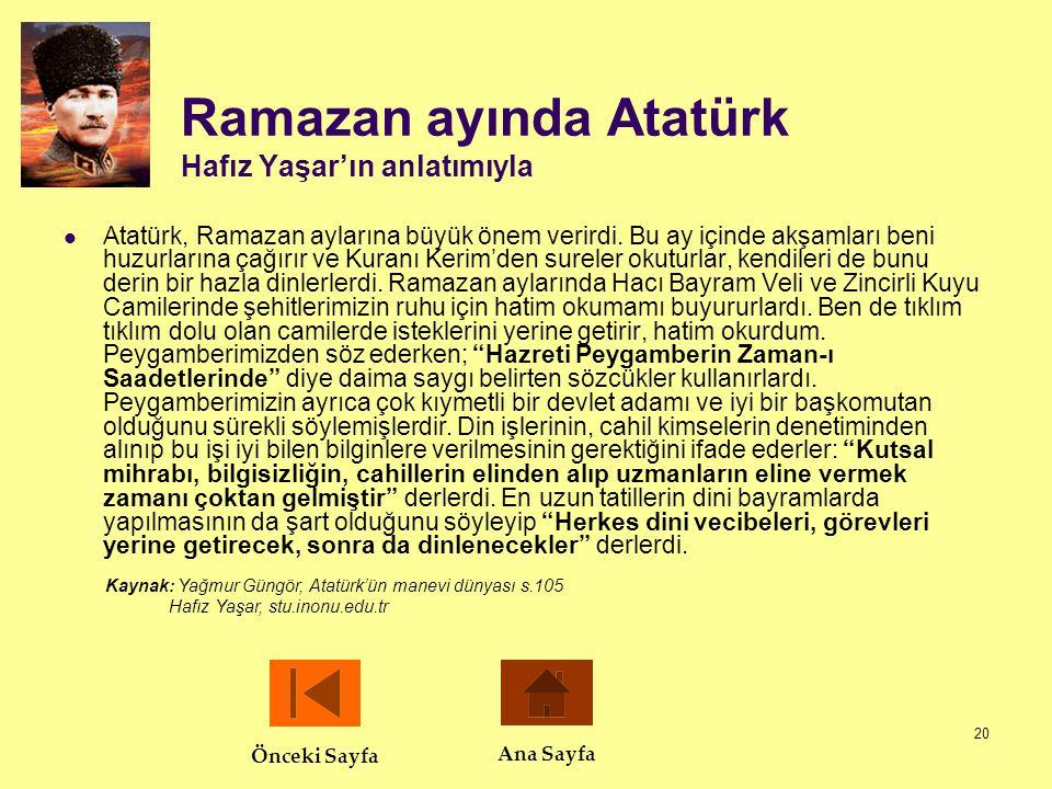 Ramazan ayında Atatürk Hafız Yaşar'ın anlatımıyla