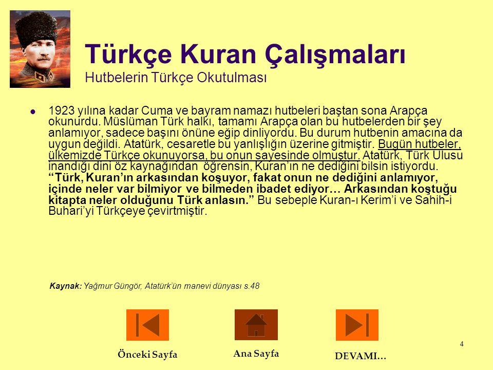 Türkçe Kuran Çalışmaları Hutbelerin Türkçe Okutulması