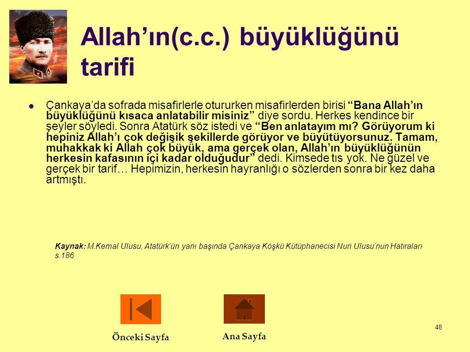 Allah'ın(c.c.) büyüklüğünü tarifi