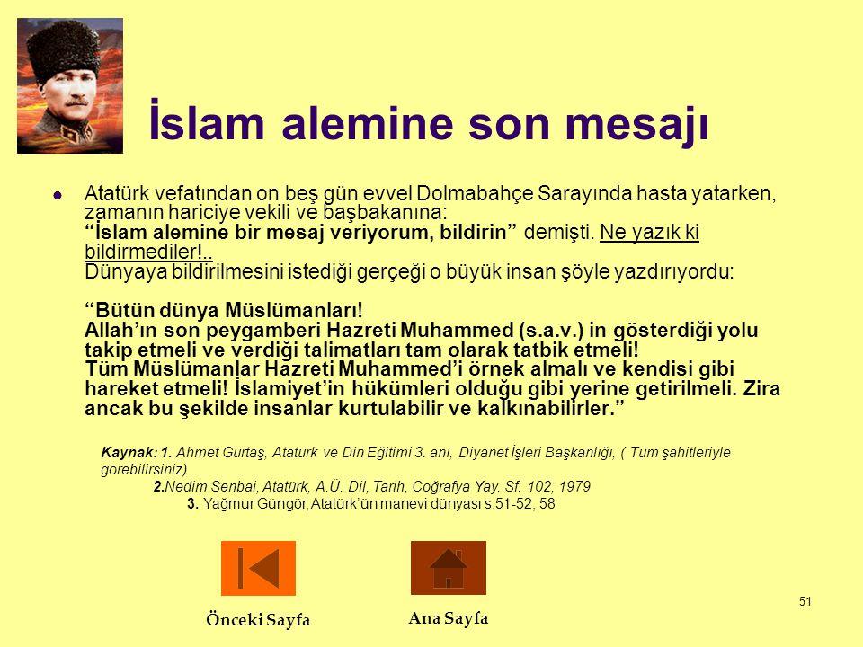 İslam alemine son mesajı