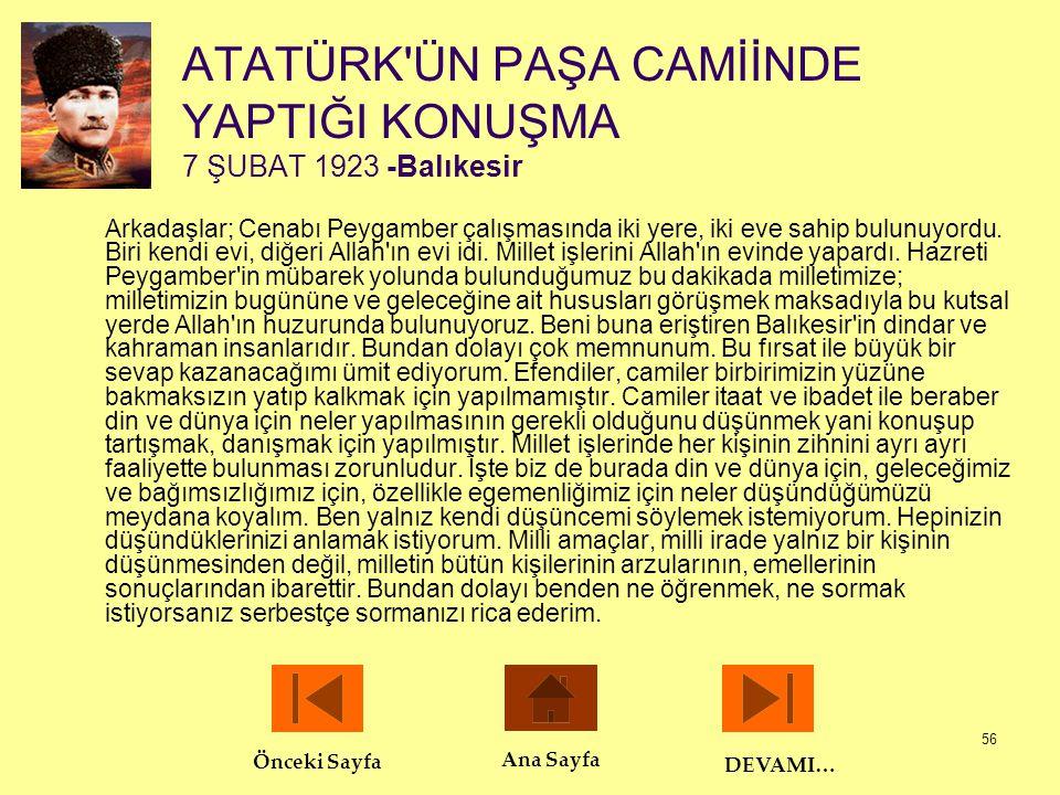 ATATÜRK ÜN PAŞA CAMİİNDE YAPTIĞI KONUŞMA 7 ŞUBAT 1923 -Balıkesir