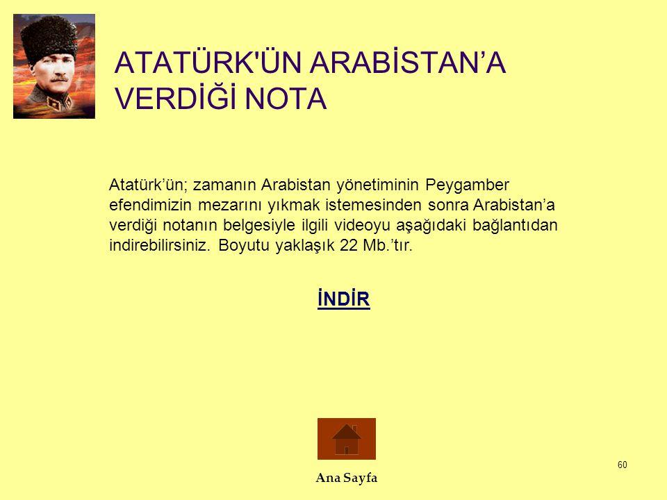 ATATÜRK ÜN ARABİSTAN'A VERDİĞİ NOTA