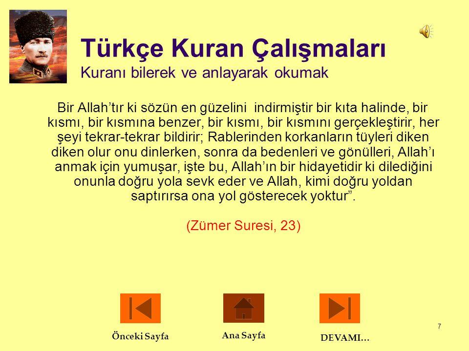 Türkçe Kuran Çalışmaları Kuranı bilerek ve anlayarak okumak