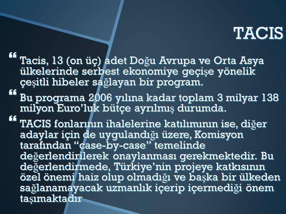TACIS Tacis, 13 (on üç) adet Doğu Avrupa ve Orta Asya ülkelerinde serbest ekonomiye geçişe yönelik çeşitli hibeler sağlayan bir program.