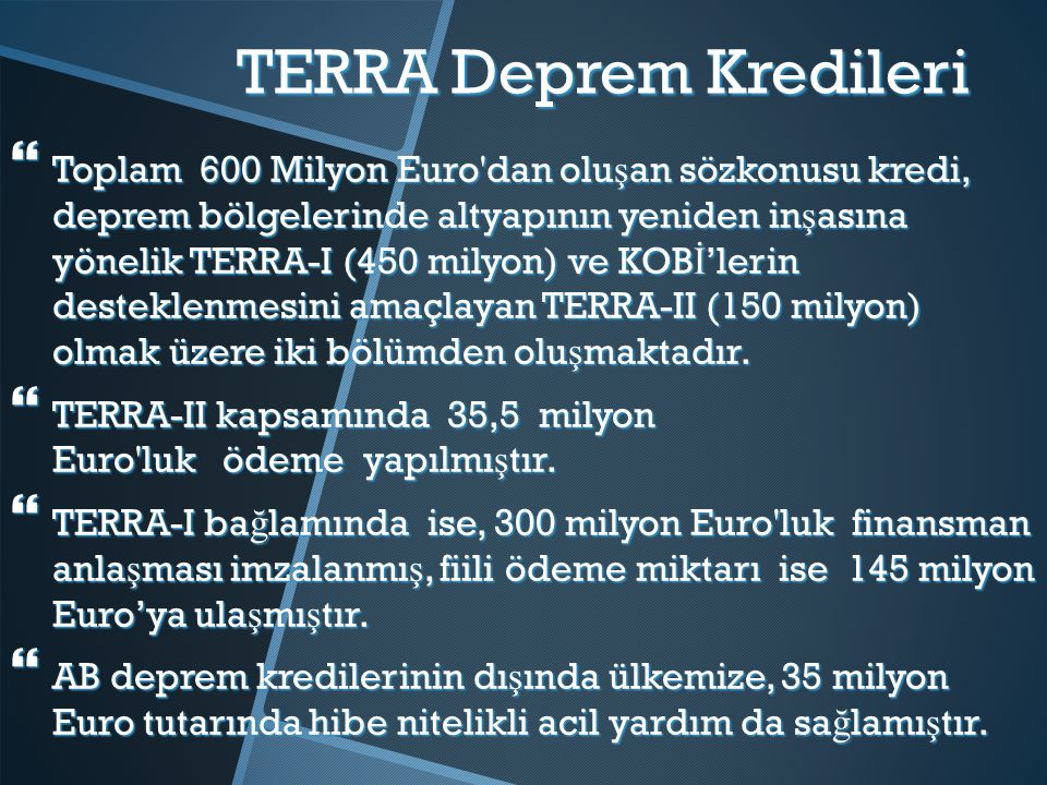 TERRA Deprem Kredileri